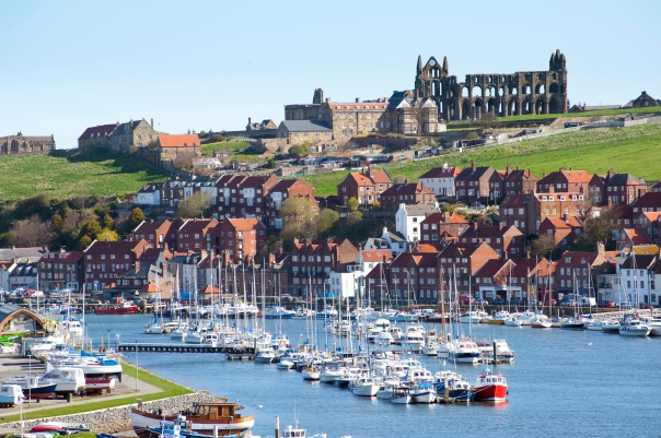 Whitby upper harbour and abbey ruins